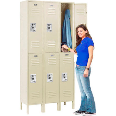 Infinity™ Locker Double Tier 12x12x36 6 Door Ready To Assemble Tan