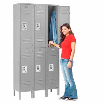 Infinity™ Locker Double Tier 12x18x36 6 Door Ready To Assemble Gray
