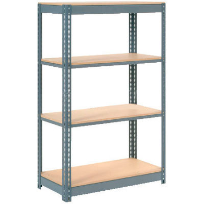 "Heavy Duty Shelving 36""W x 24""D x 60""H With 4 Shelves - Wood Deck - Gray"