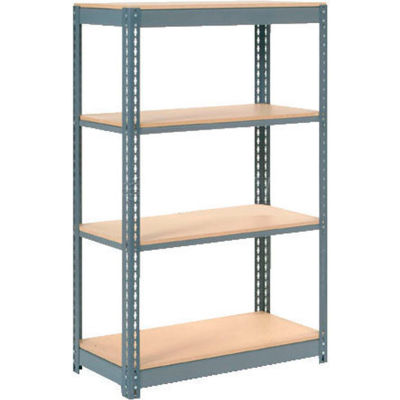 """Heavy Duty Shelving 48""""W x 18""""D x 60""""H With 4 Shelves - Wood Deck - Gray"""