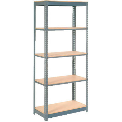 "Heavy Duty Shelving 36""W x 12""D x 84""H With 5 Shelves - Wood Deck - Gray"