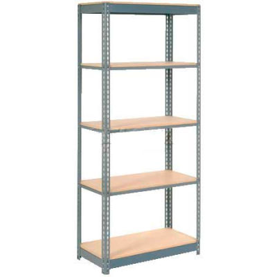 """Heavy Duty Shelving 36""""W x 12""""D x 96""""H With 5 Shelves - Wood Deck - Gray"""