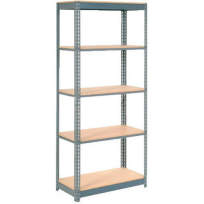 "Global Industrial™ Heavy Duty Shelving 48""W x 12""D x 84""H With 5 Shelves - Wood Deck - Gray"