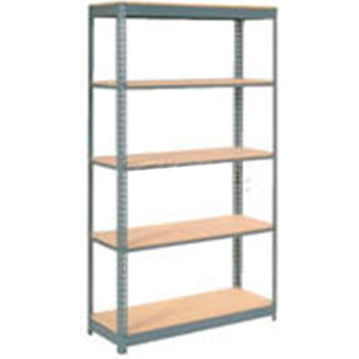 """Heavy Duty Shelving 48""""W x 12""""D x 96""""H With 5 Shelves - Wood Deck - Gray"""