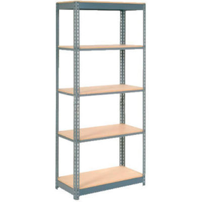 "Heavy Duty Shelving 48""W x 24""D x 84""H With 5 Shelves - Wood Deck - Gray"