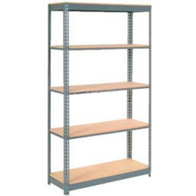 "Heavy Duty Shelving 48""W x 24""D x 96""H With 5 Shelves - Wood Deck - Gray"