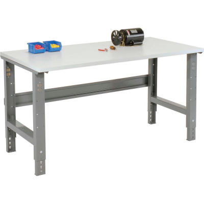 """72""""W x 36""""D Adjustable Height Workbench C-Channel Leg - ESD Plastic Square Edge - Gray"""