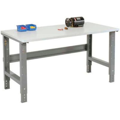 "72""W x 30""D Adjustable Height Workbench C-Channel Leg - ESD Plastic Square Edge - Gray"