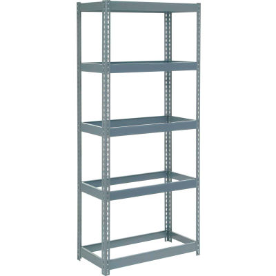 """Extra Heavy Duty Shelving 36""""W x 24""""D x 60""""H With 5 Shelves - No Deck - Gray"""
