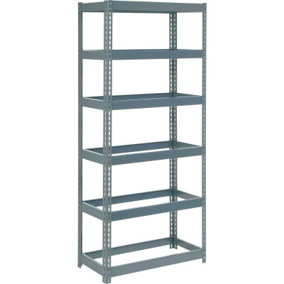 """Extra Heavy Duty Shelving 36""""W x 24""""D x 60""""H With 6 Shelves - No Deck - Gray"""