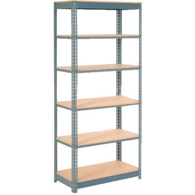 """Heavy Duty Shelving 36""""W x 12""""D x 60""""H With 6 Shelves - Wood Deck - Gray"""