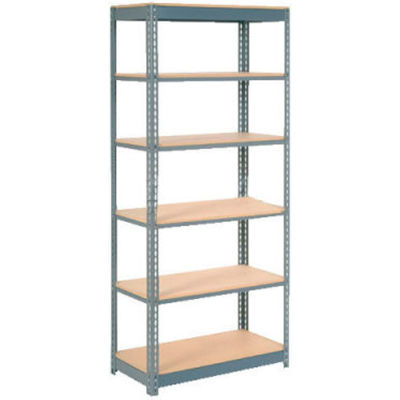 """Heavy Duty Shelving 36""""W x 24""""D x 60""""H With 6 Shelves - Wood Deck - Gray"""