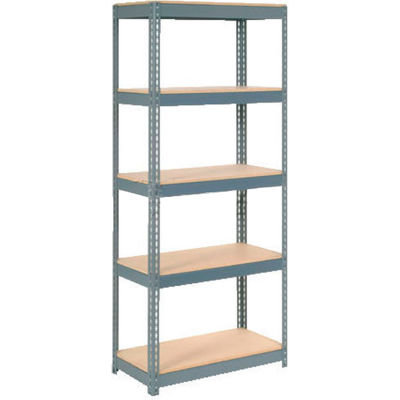 """Extra Heavy Duty Shelving 36""""W x 12""""D x 60""""H With 5 Shelves - Wood Deck - Gray"""