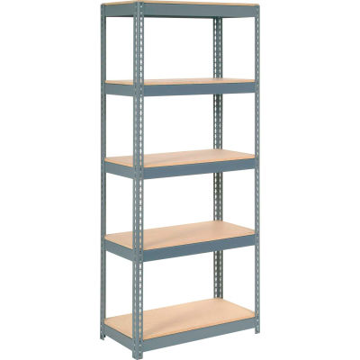 """Extra Heavy Duty Shelving 36""""W x 24""""D x 60""""H With 5 Shelves - Wood Deck - Gray"""