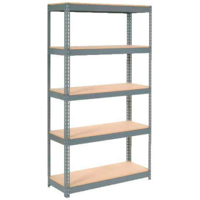 """Extra Heavy Duty Shelving 48""""W x 24""""D x 60""""H With 5 Shelves - Wood Deck - Gray"""