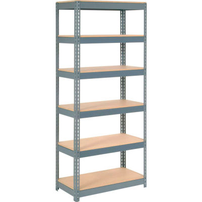 """Extra Heavy Duty Shelving 36""""W x 12""""D x 60""""H With 6 Shelves - Wood Deck - Gray"""