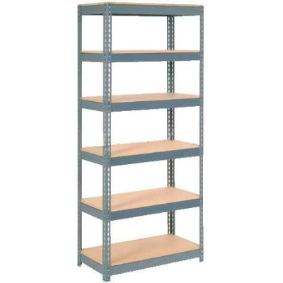 """Extra Heavy Duty Shelving 36""""W x 18""""D x 60""""H With 6 Shelves - Wood Deck - Gray"""