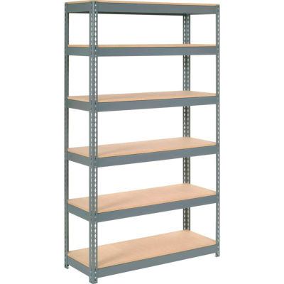 "Extra Heavy Duty Shelving 48""W x 12""D x 60""H With 6 Shelves - Wood Deck - Gray"