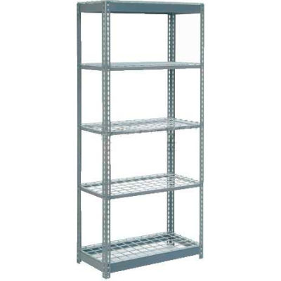 """Heavy Duty Shelving 36""""W x 12""""D x 60""""H With 5 Shelves - Wire Deck - Gray"""