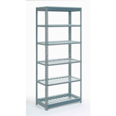 """Heavy Duty Shelving 36""""W x 12""""D x 60""""H With 6 Shelves - Wire Deck - Gray"""