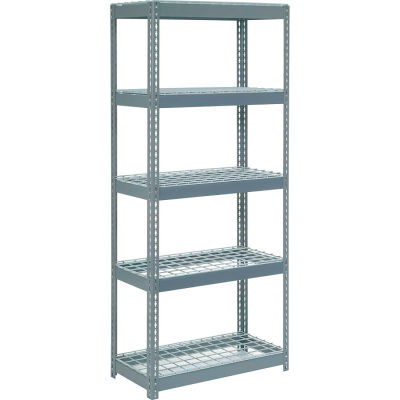 """Extra Heavy Duty Shelving 36""""W x 12""""D x 60""""H With 5 Shelves - Wire Deck - Gray"""