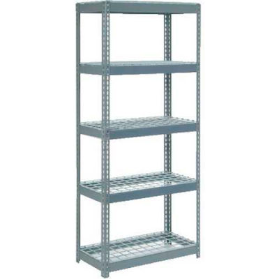 """Extra Heavy Duty Shelving 36""""W x 18""""D x 60""""H With 5 Shelves - Wire Deck - Gray"""