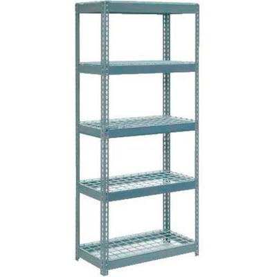 """Extra Heavy Duty Shelving 36""""W x 24""""D x 60""""H With 5 Shelves - Wire Deck - Gray"""