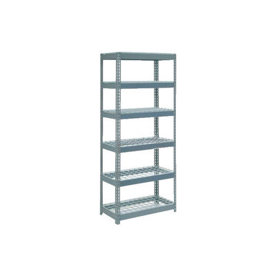 """Extra Heavy Duty Shelving 36""""W x 12""""D x 60""""H With 6 Shelves - Wire Deck - Gray"""