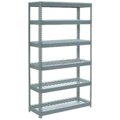 """Extra Heavy Duty Shelving 48""""W x 18""""D x 60""""H With 6 Shelves - Wire Deck - Gray"""