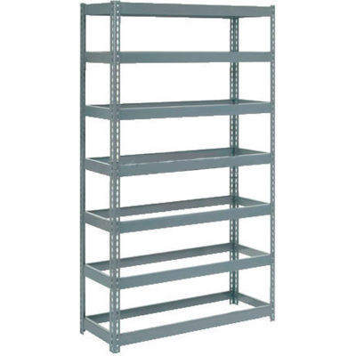 """Extra Heavy Duty Shelving 48""""W x 12""""D x 84""""H With 7 Shelves - No Deck - Gray"""