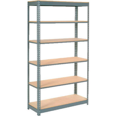 """Global Industrial™ Heavy Duty Shelving 48""""W x 12""""D x 84""""H With 6 Shelves - Wood Deck - Gray"""