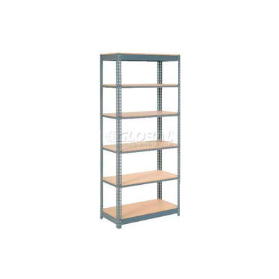 """Heavy Duty Shelving 48""""W x 24""""D x 84""""H With 6 Shelves - Wood Deck - Gray"""