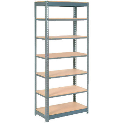 """Heavy Duty Shelving 36""""W x 12""""D x 84""""H With 7 Shelves - Wood Deck - Gray"""
