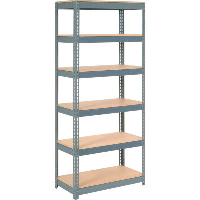"""Extra Heavy Duty Shelving 36""""W x 18""""D x 84""""H With 6 Shelves - Wood Deck - Gray"""