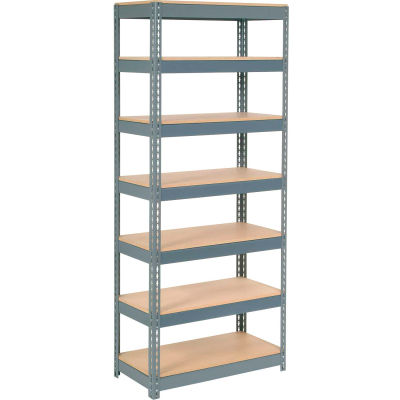 """Global Industrial™ Extra Heavy Duty Shelving 36""""W x 24""""D x 84""""H With 7 Shelves, Wood Deck, Gry"""