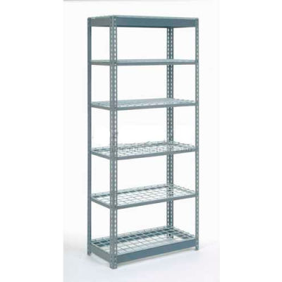 """Heavy Duty Shelving 36""""W x 12""""D x 84""""H With 6 Shelves - Wire Deck - Gray"""