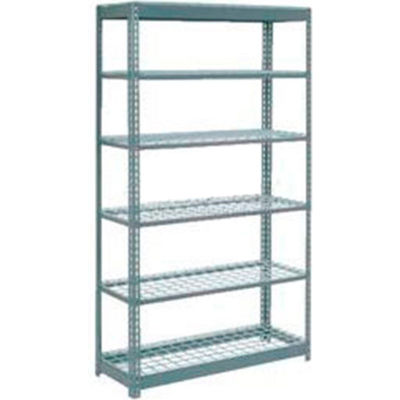 "Global Industrial™ Heavy Duty Shelving 48""W x 24""D x 84""H With 6 Shelves - Wire Deck - Gray"