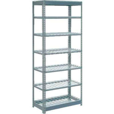 """Heavy Duty Shelving 36""""W x 12""""D x 84""""H With 7 Shelves - Wire Deck - Gray"""