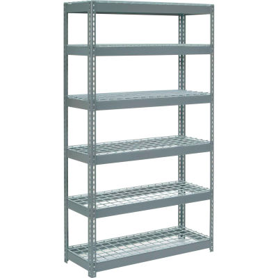 """Extra Heavy Duty Shelving 48""""W x 18""""D x 84""""H With 6 Shelves - Wire Deck - Gray"""