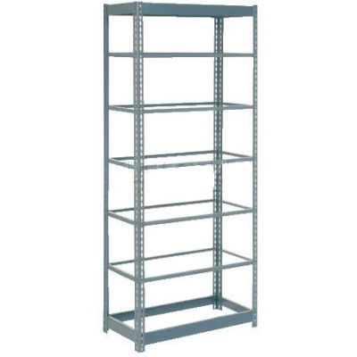 """Heavy Duty Shelving 36""""W x 12""""D x 96""""H With 7 Shelves - No Deck - Gray"""
