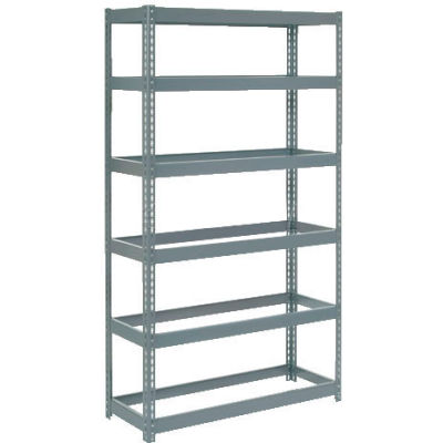 """Extra Heavy Duty Shelving 36""""W x 18""""D x 96""""H With 6 Shelves - No Deck - Gray"""