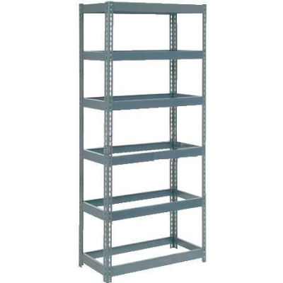 """Extra Heavy Duty Shelving 36""""W x 24""""D x 96""""H With 6 Shelves - No Deck - Gray"""