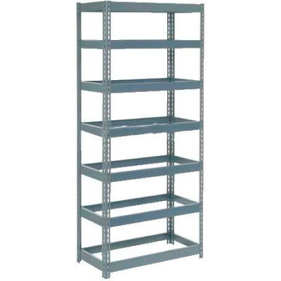 """Extra Heavy Duty Shelving 36""""W x 18""""D x 96""""H With 7 Shelves - No Deck - Gray"""