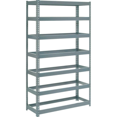 """Extra Heavy Duty Shelving 48""""W x 18""""D x 96""""H With 7 Shelves - No Deck - Gray"""