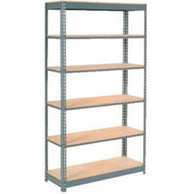 "Heavy Duty Shelving 48""W x 18""D x 96""H With 6 Shelves - Wood Deck - Gray"