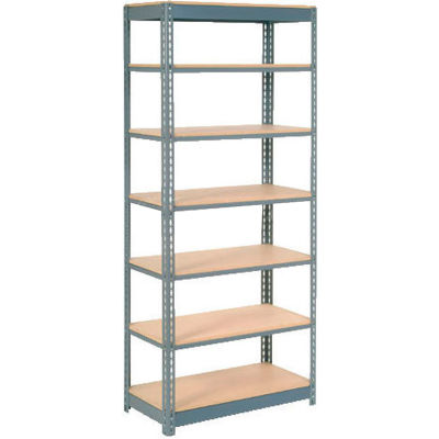 "Heavy Duty Shelving 36""W x 12""D x 96""H With 7 Shelves - Wood Deck - Gray"