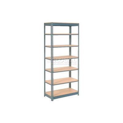 "Heavy Duty Shelving 36""W x 18""D x 96""H With 7 Shelves - Wood Deck - Gray"