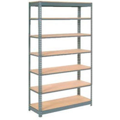 """Heavy Duty Shelving 48""""W x 18""""D x 96""""H With 7 Shelves - Wood Deck - Gray"""