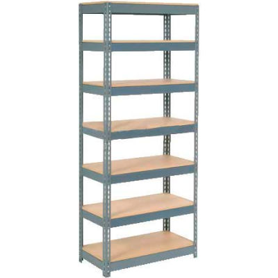 """Extra Heavy Duty Shelving 36""""W x 12""""D x 96""""H With 7 Shelves - Wood Deck - Gray"""