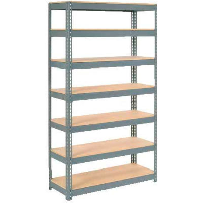 """Extra Heavy Duty Shelving 48""""W x 12""""D x 96""""H With 7 Shelves - Wood Deck - Gray"""